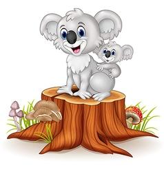 Cartoon baby koala on mother back on tree stump vector