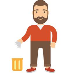 Cartoon man throwing garbage in bin vector