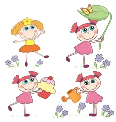 cartoongirlsset vector image