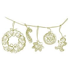 Christmas icon ornaments vector