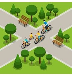 City park cycling family isometric banner vector