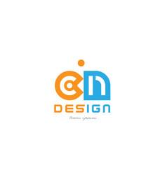 Cn c n orange blue alphabet letter logo vector