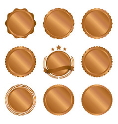 collection of modern bronze circle metal badges vector image vector image