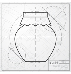 Color flat homemade jam bottle template vector