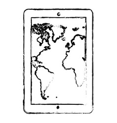 contour map in the smarphone icon vector image