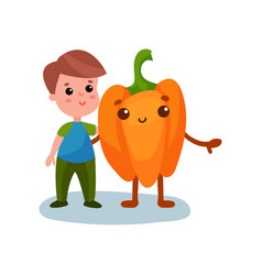 cute little boy hugging giant pepper vegetable vector image vector image