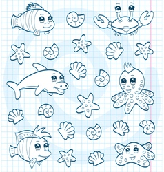 Cute sea animals vector image vector image