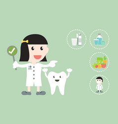Dental health care - dentist and tooth vector