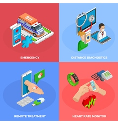 Digital Health Isometric Concept vector image