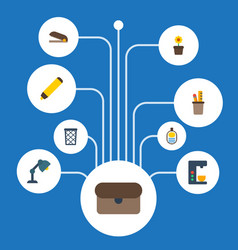flat icons trash basket espresso machine vector image