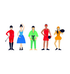 Flat people hobbies set vector
