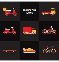 Flat transport vehicle icon set vector image
