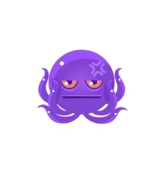 Funny octopus with headache emoji vector