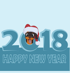 happy small dog in santa claus hat sitting and vector image