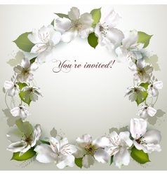invitation with delicate white flowers vector image