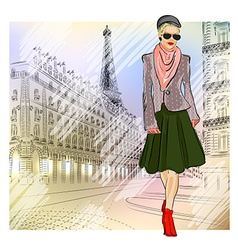 Lady Strolling the Streets of Paris vector image