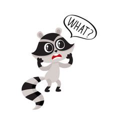 little raccoon character unpleasantly surprised vector image vector image