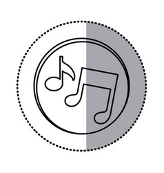 Monochrome contour with circle sticker of musical vector