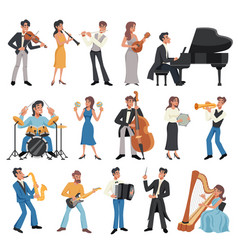Musician icon set vector