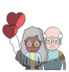Old coupe people with glasses and hairstyle vector