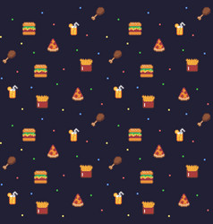 Pixel art food background vector
