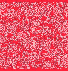 Red line roses floral pattern seamless vector