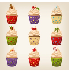 Set of Christmas cupcakes vector image