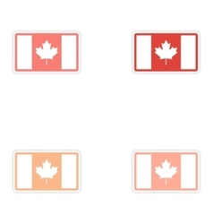 Set of stickers canadian flag on white background vector