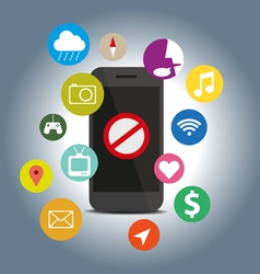 Signes icon do not with function mobile phone vector image