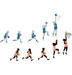 Silhouettes Playing Basketball Small vector image