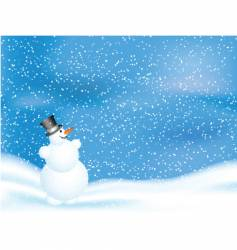 snowman on snowy night vector image vector image