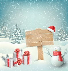 Winter christmas background with signpost snowman vector
