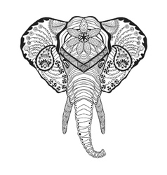 Zentangle stylized elphant head Sketch for tattoo vector image vector image