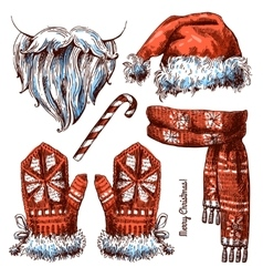 Christmas hat scarf and mittens vector