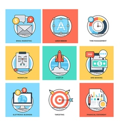Flat color line design concepts icons 36 vector
