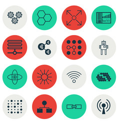Set of 16 machine learning icons includes vector