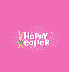 Happy easter hipster rabbit celebration design vector