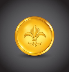 Golden coin with fleur de lis vector