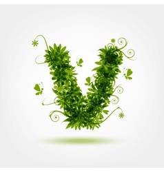 Green eco letter v for your design vector