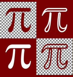 Pi greek letter sign  bordo and white vector