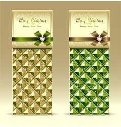 Banners or gift card with bow geometric pattern gr vector image
