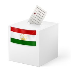 Ballot box with voting paper tajikistan vector
