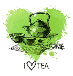 Tea background with splash watercolor heart vector image