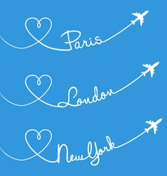 Love flying Paris London New York set vector image