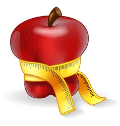 Red apple with measurement vector
