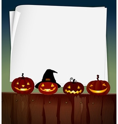 Blank paper with halloween theme background vector image