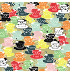 tea cups pattern background vector image