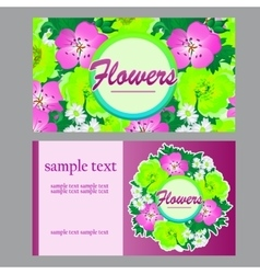 Two bright cards in floral style for business vector