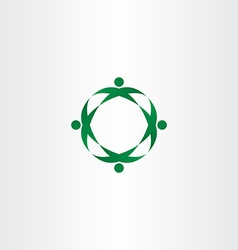 Circle green people celebrate party logo icon vector