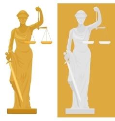 Themis Femida statue in two vector image